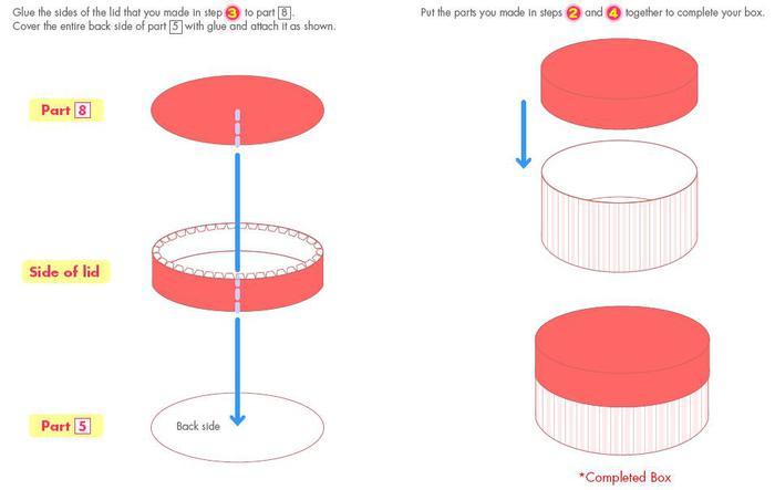 Как сделать круглую коробку из картона схема фото 824