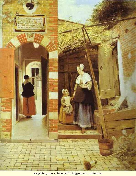 Pieter de Hooch. The Courtyard of a House in Delft (342x500, 85Kb)