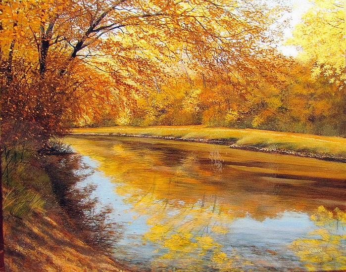 autumn afternoon along the canal david bottini (700x550, 213Kb)