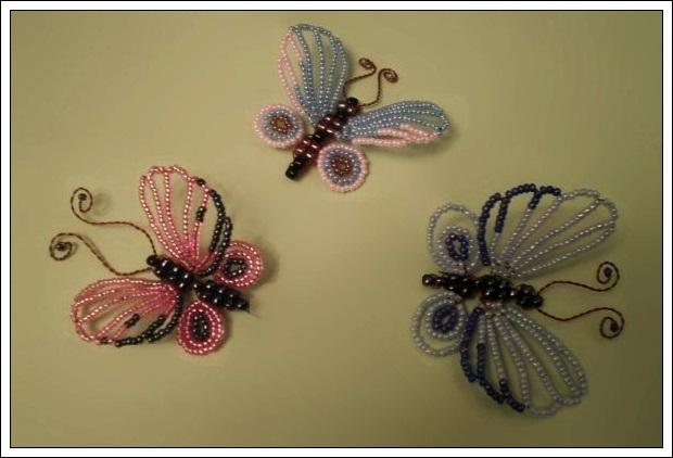 Как сделать бабочка из бисера легкий схема