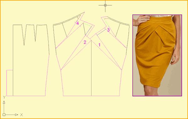 786e5804079 Узкая юбка с драпировкой. Строим асимметричную ...