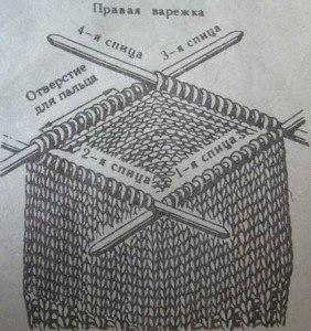 Варежки жемчужным узором спицами описание
