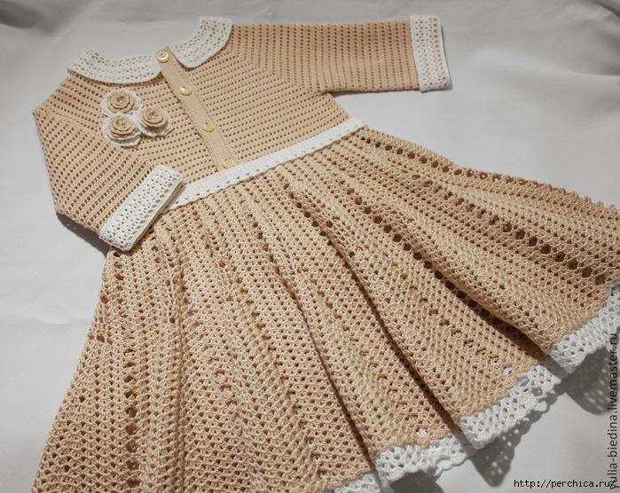 Вязаные платья для девочек крючком от 1 до 3 лет