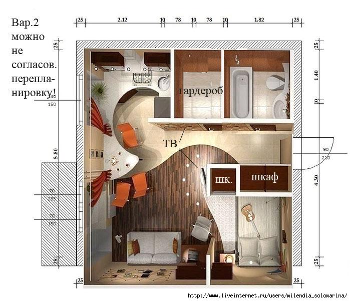расстановки мебели в студии схемы