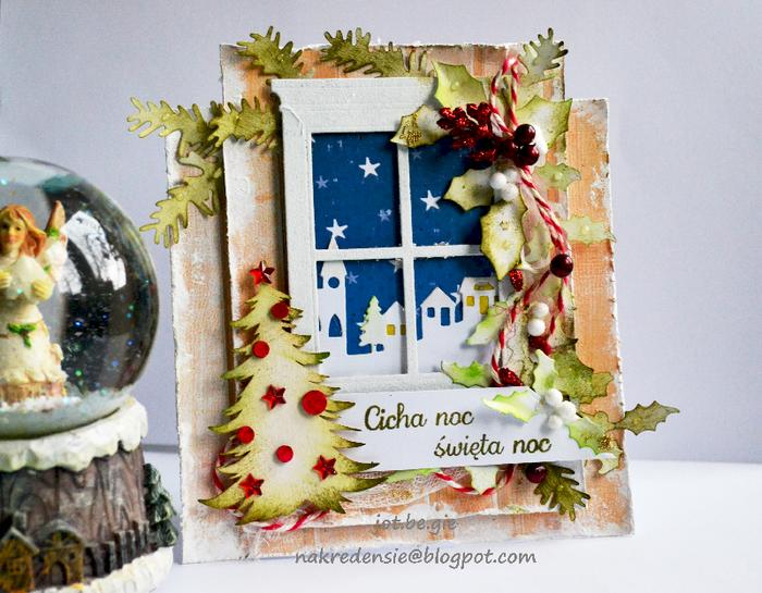 Скрапбукинг открытка с окнами