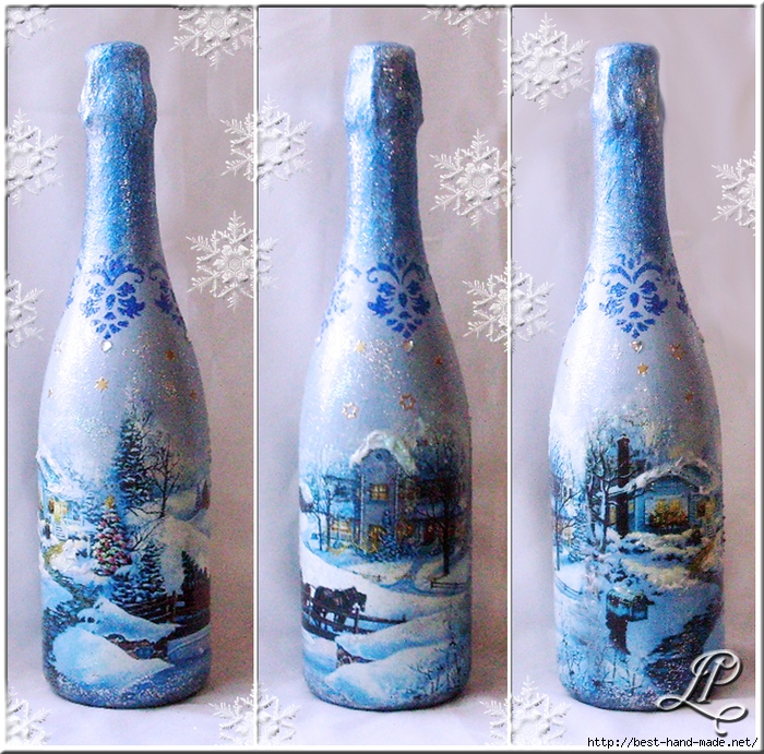 Декупаж бутылки шампанского к Новому году Школа