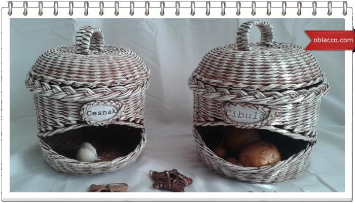 Необычные и удобные емкости для лука и чеснока, плетеные из газетных трубочек. Замечательный мастер класс