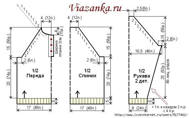 схема вязания джемпера с рукавом реглан