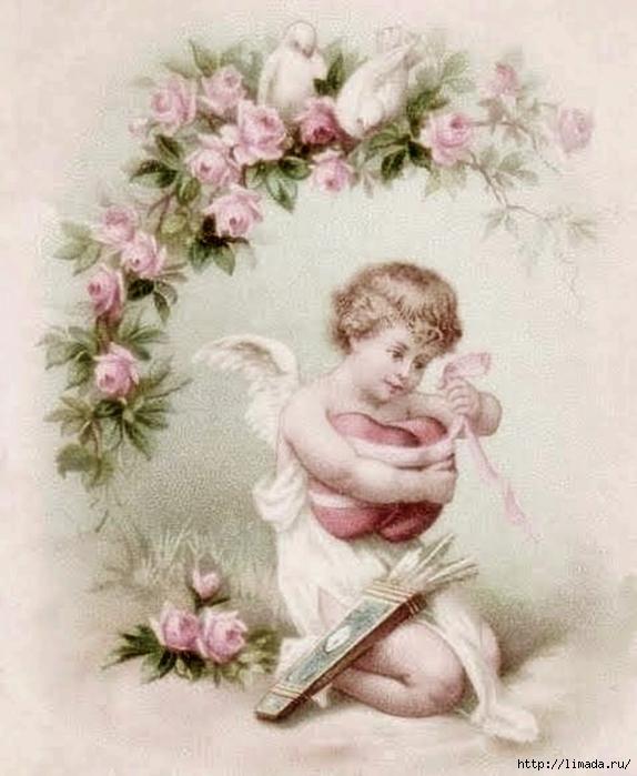 Картинки для декупажа ангелы ретро