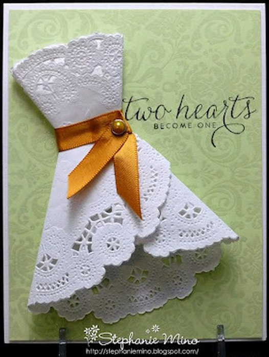Открытка с платьем из салфетки своими руками мастер класс, открытка для