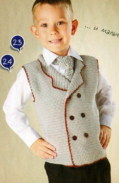 вязаный жилет и вязаный галстук для мальчика 5 ти лет описание и