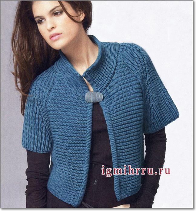 Вязание жакет с короткими рукавами 62