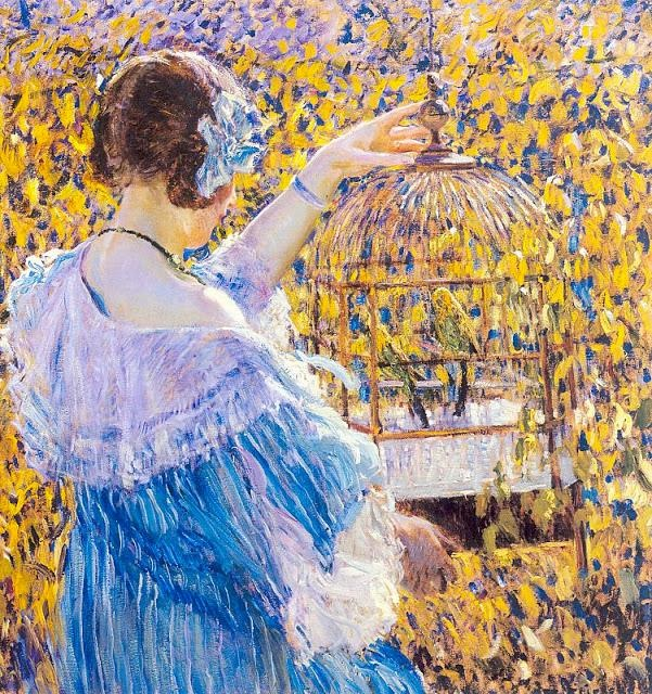 04 07 Благовещенье Frederick Carl Frieseke. The Birdcage, 1910 (601x640, 265Kb)