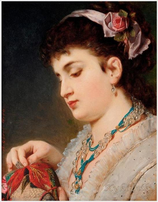 Anton Ebert (1845-1896) Lady Doing Needlework (546x700, 59Kb)