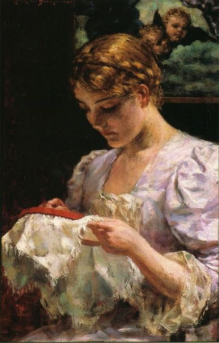 James Carroll Beckwith. The Embroiderer (447x700, 62Kb)