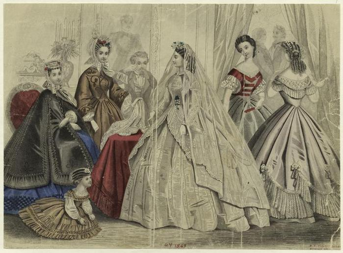Woman in bridal gown and women in formal dress.(1863)