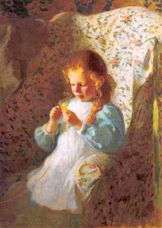 "Чарльз Хопкинсон  ""Маленькая вязальщица "" 1910 г."