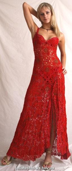 вечернее платье вязаное крючком схемы