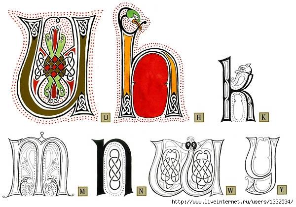 ...буквы в кельтском стиле.  Узоры из узлов и переплетения разной степени.