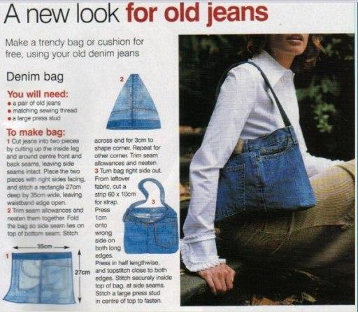 А вот смотри как из старых джинсов сшить.  Вложения.  Из старых шапок...