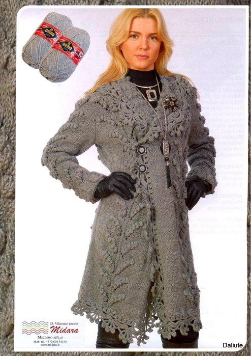 Описание: схемы вязания пальто спицами.