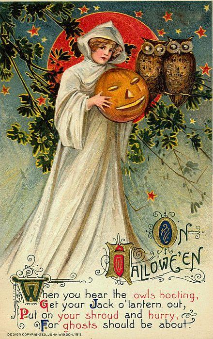 Старинные открытки к хэллоуину, кружево