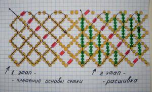 колье из бисера, схема плетения.