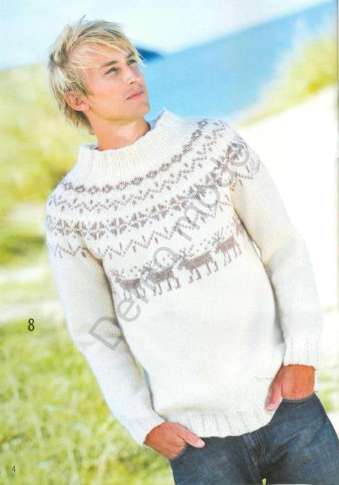 Мужской свитер с жаккардом и круглой кокеткой.