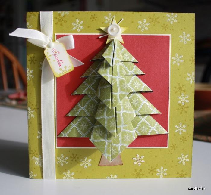 Новогодняя объемная открытка елочка, для