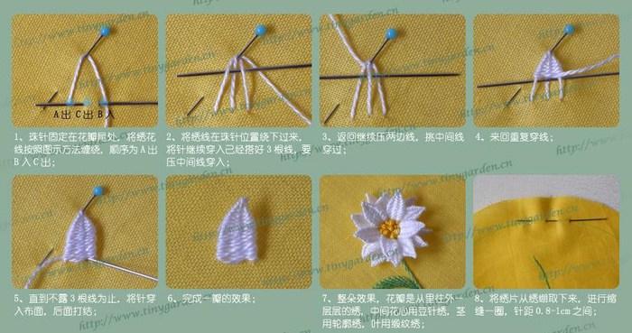 Ромашка (объемная вышивка)