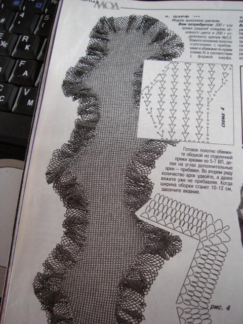 Объмный шарф крючком схема шарфы вязанные мужские и.