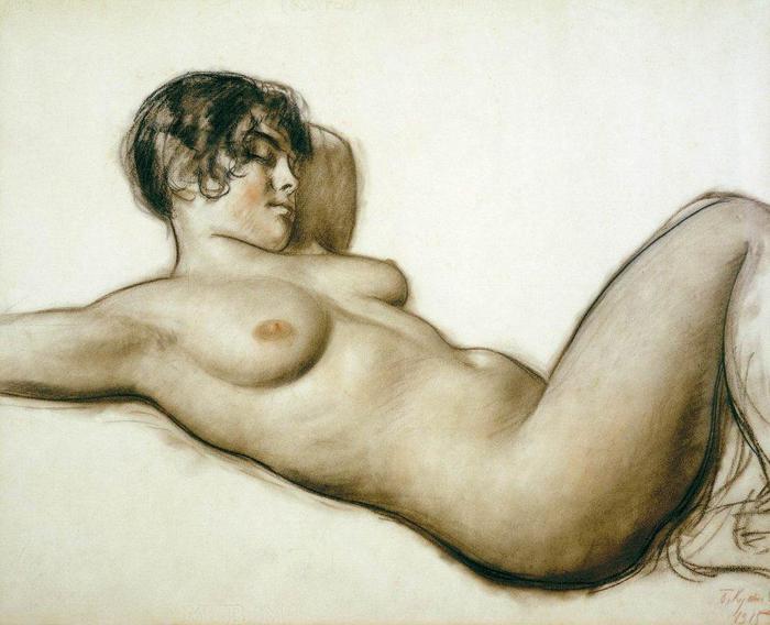 Лежащая натурщица. 1915