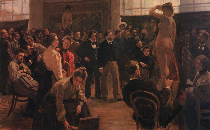 Постановка модели в мастерской И.Е.Репина в Академии художеств. 1899
