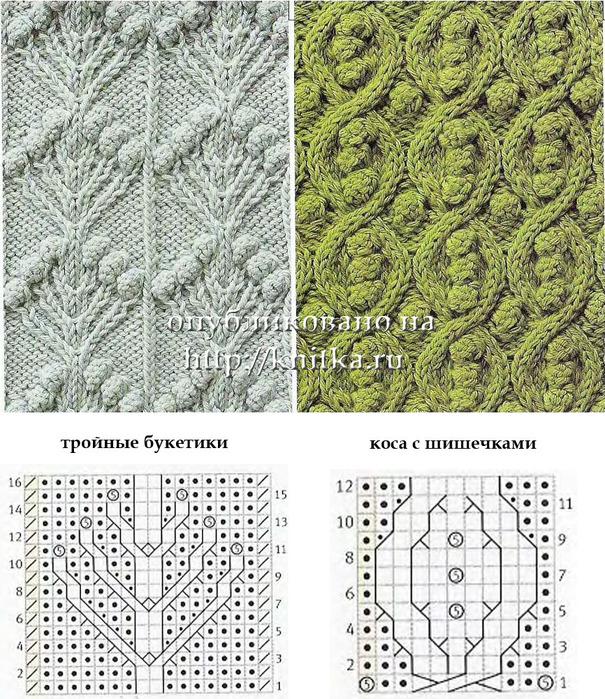 вязание схемы узора шишечки