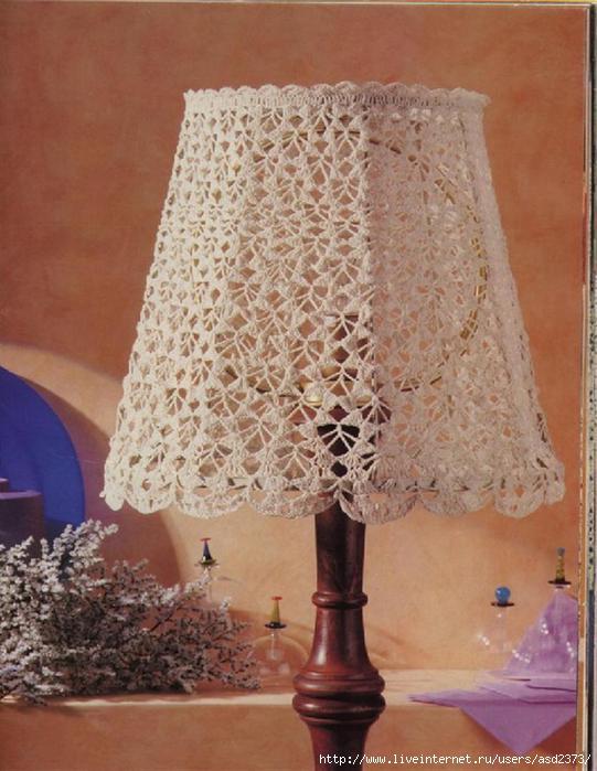 Схема абажура крючком для настольной лампы