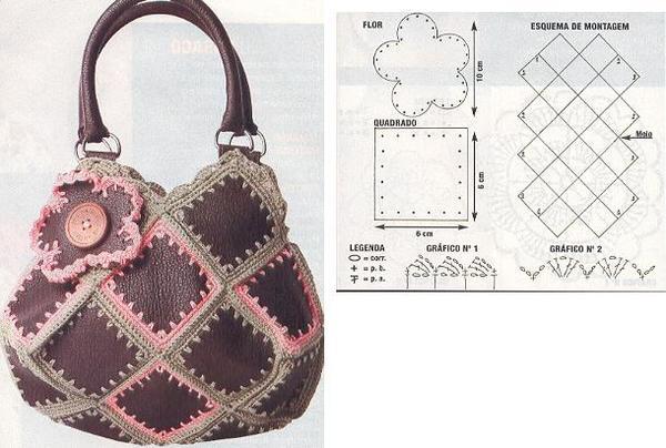 ...Интересная идея винтажной сумки из кусочков кожи и контрасных ниток.