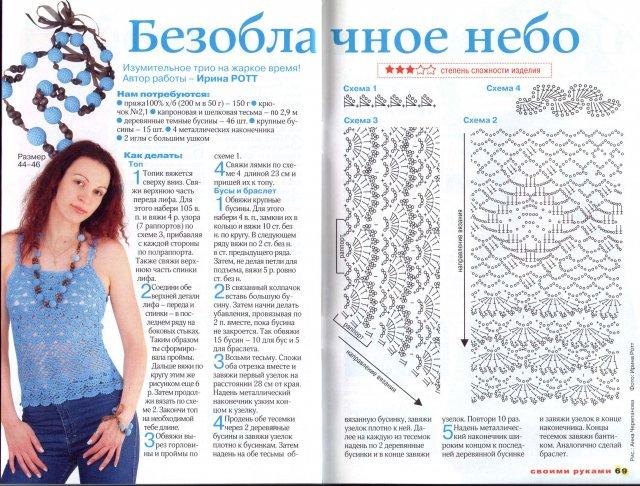 Вязание топиков и маечек крючком со схемами