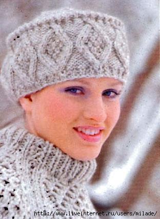 Вязаные женские шапки крючком.  Схемы вязания, шапочка с ушками и.