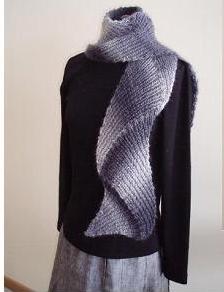 шарф мужской вязаный белый с красным. вязание спицами шарфворотник.