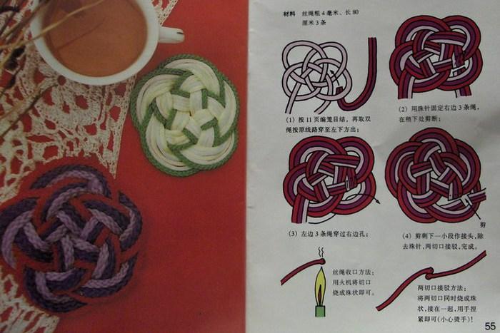 Подставка для кружки - макраме - схема плетения.
