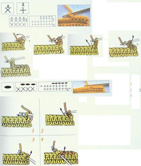 Условные обозначения вязания крючком.  Из японского журнала.