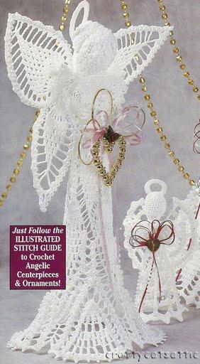 Плоские вязаные ангелочки. вязаные ангелы со схемами. http...