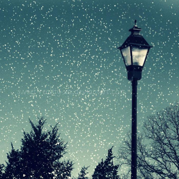 картинка снегопад и фонарь рамках