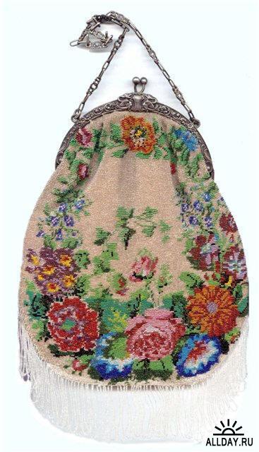 ...вышитые бисером туфельки...  Бисерные сумочки вошли в моду в Европе...