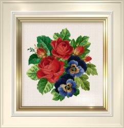 Цветы вышитые крестиком.  Мастерски вышитые великолепные розы в вазах и...