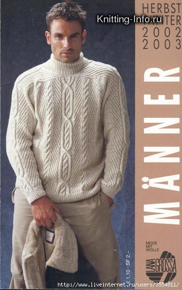 свой цитатник или сообщество!  Мужской свитер с рукавом-погон.