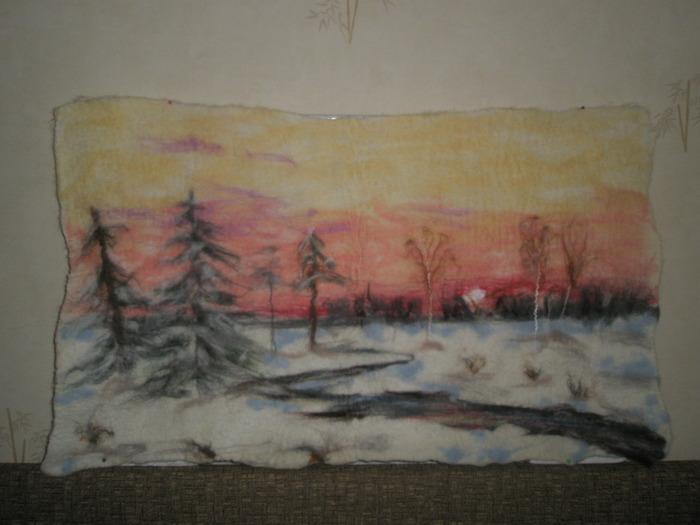 0. Картина сделана из шерсти в технике мокрого валяния с нанесением...