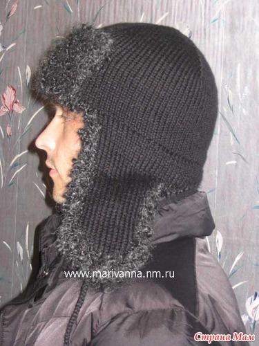 вязание спицами мужские шапки.