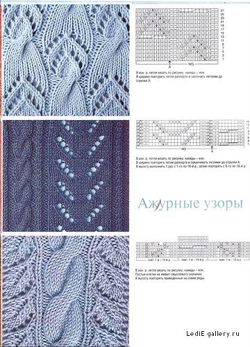 Узоры для вязания спицами, вязание крючком ажурные узоры кофта и.