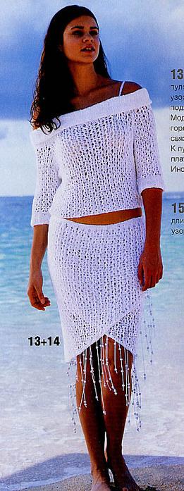 Вязание юбок на спицах.  Вязаные модели.